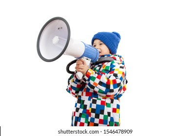 Little boy shouting with a megaphone. Children yelling into a megaphone. Isolated on white