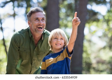 Little boy showing something to cheerful father while hiking in forest