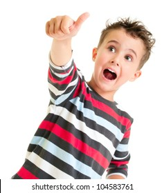Little boy shows thumb up gesture isolated on white