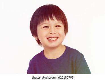 Little Boy Smile Face Expression Studio Portrait