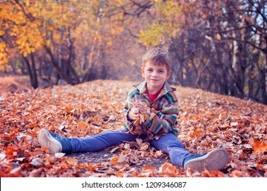 Little boy smiling with bunch of leaves in his hand
