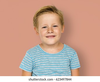 Little Boy Smiling Face Expression Studio Portrait