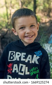 Little boy smiling in front of the camera. San Luis, Argentina. February 10, 2020