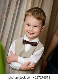 Little boy smiling - wedding ring bearer