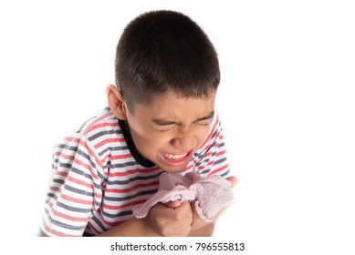 Little boy sneezing and using napkin for clean his nose