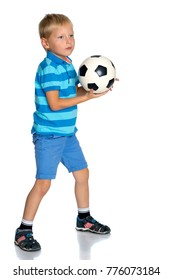 Little boy with a soccer ball. The concept of the game and sports development of the child in the family and school. Isolated on white background.