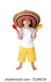 little boy in sombrero with with the maracas