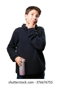 little boy with spray