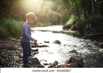 Little boy standing near the river in sunset. Beautiful sunlight in the forest, Victoria, Australia