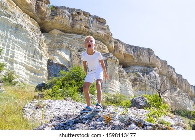 little boy stands on a rock in the mountains and growls like a dinosaur or a zombie