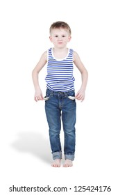 Little boy in striped singlet and jeans shows turned out empty pockets