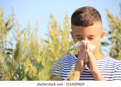 Little boy suffering from ragweed allergy outdoors