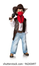 Little boy in a suit of the cowboy on a white background
