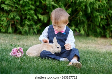 little boy in a suit playing with a rabbit on the grass.