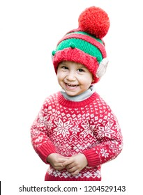 Little boy in sweater and hat waiting for a Christmas in the wood. Half-length portrait of a little boy isolated on a white background. Clipping Path.