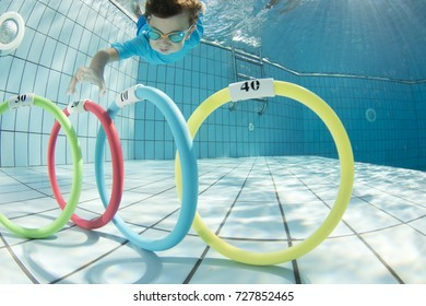 Little Boy Swims Underwater Pool Picking Stock Photo Edit Now