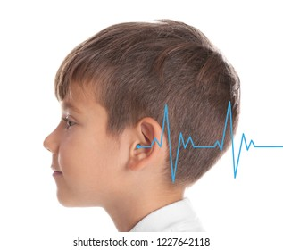 Little boy with symptom of hearing loss on white background. Medical test