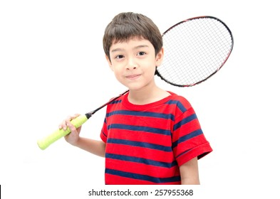 Little boy taking badminton racket with happy face isolate on white background