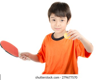 Little boy talking table tennis bat on white background