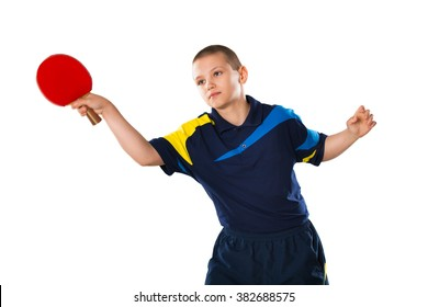 Little boy tennis-player in play on white background
