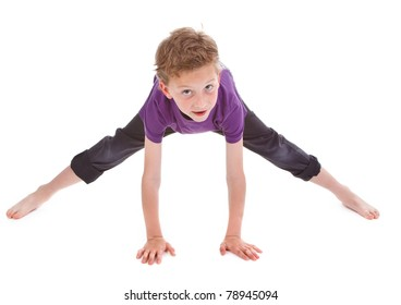 little boy is trying to make spin on white background