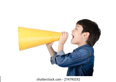 Little boy using megaphone shouting on white background