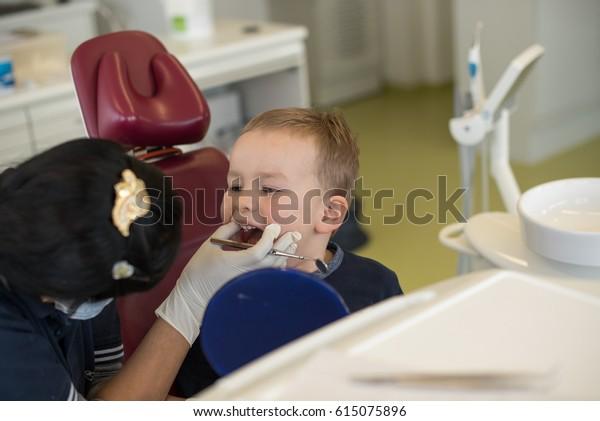 Little boy visiting dentist