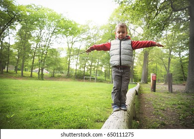 Little boy walking on a log in the park.  child on the balance beam. Copy space for your text
