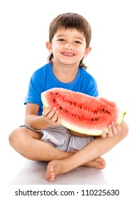 Little boy with water-melon. isolated on white background
