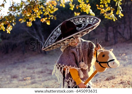 Little Boy Wearing Mexican Sombrero Poncho Stock Photo (Edit Now ... b4108a336d7
