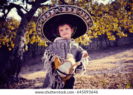 Little Boy Wearing Mexican Sombrero Poncho Stock Photo (Edit Now ... 23dc06d16d9