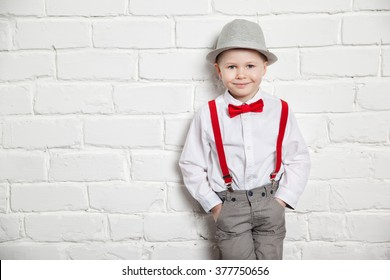 ELF EYAS Little Boys Black Suspenders Pants Set with Bowtie