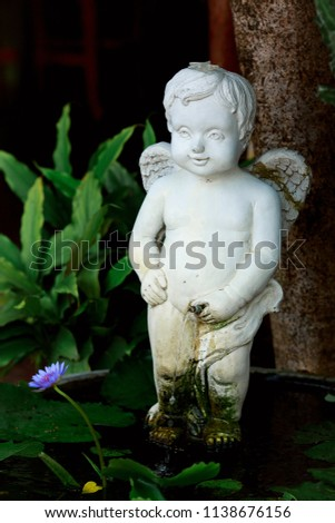 Little Boy White Ceramic Statue, Little Angel Cupid Statue Decorated In The  Garden, With