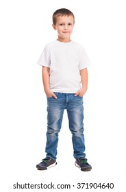 little boy in white shirt
