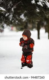 little boy in winter park