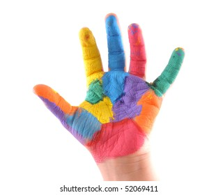 Little boy's colorful hand with 5 fingers up as well as a stop sign. White background studio image.