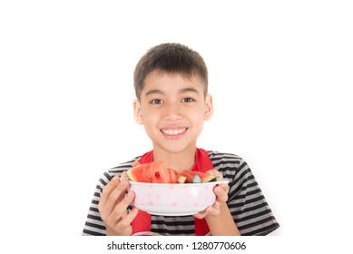 Little boys eat watermelon on white