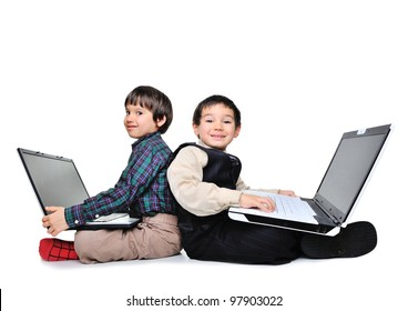 Little boys with laptops