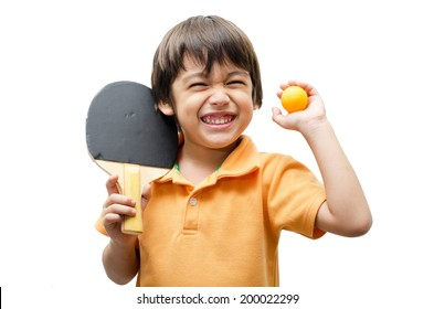 Little boys playing table tennis on white background