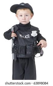 Little Boys in Police Officer Uniforms