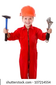 Little builder in red coveralls and helmet with wrench and hammer, isolated on white