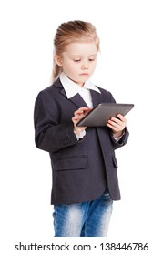 Little business girl with a tablet