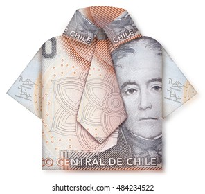 A little business man with shirt and a tie made out of bank notes