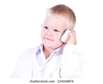 Little businessman in a business suit with phone in hand