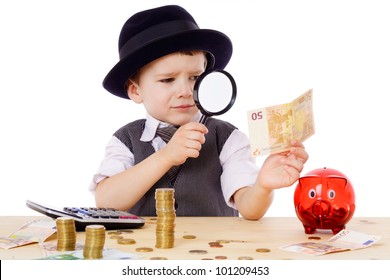 Little businessman checks the money with magnifying glass, isolated on white