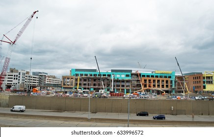 Little Caesars Arena, Detroit, Michigan, USA - April 21, 2017: Construction site of new stadium/concert venue in Downtown Detroit, April 21, 2017 Detroit, Michigan USA