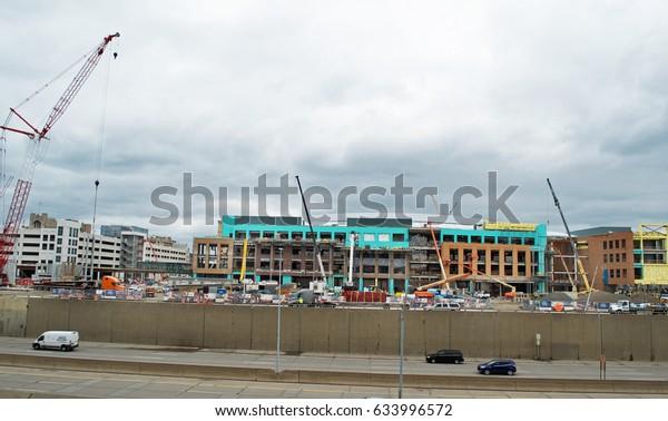 Little Caesars Arena, Detroit, Michigan, USA - April 21, 2017: Construction site of new stadium/concert venue in Downtown Detroit, April 21, 2017 Detroit, Michigan USA