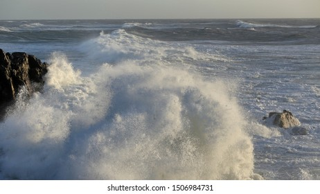 Little cape of Saint Paio during sea storm, north of Portugal. End of the day light.