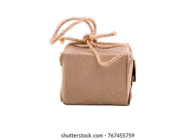 bf3f7389fa Little cardboard box tied with a rope isolated on the white background