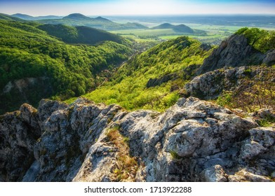 Little Carpathians mountains hills, Plavecky Mikulas village in the valley bellow,Slovakia